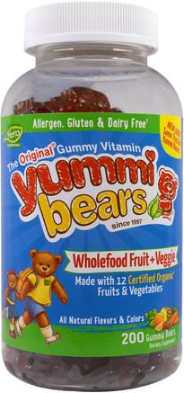 Yummi Bears, Wholefood Fruit + Veggie, 200 Gummy Bears by Hero Nutritional Products-Vitaminer, Multivitaminer, Barn Multivitaminer, Multivitamingummier