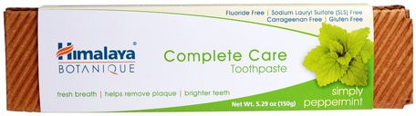 Botanique, Complete Care Toothpaste, Simply Peppermint, 5.29 oz (150 g) by Himalaya Herbal Healthcare-Bad, Skönhet, Tandkräm