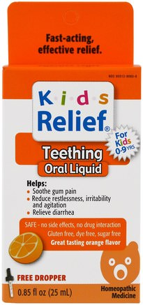 Kids Relief, Teething, Orange Flavor, 0.85 fl oz (25 ml) by Homeolab USA-Kosttillskott, Homeopati, Barnsjukdomar