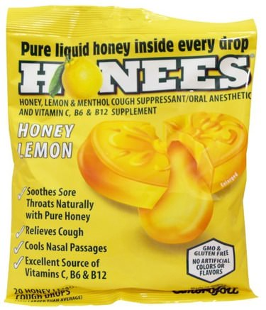 Cough Drops, Honey Lemon, 20 Cough Drops by Honees-Hälsa, Lung Och Bronkial, Hosta Droppar