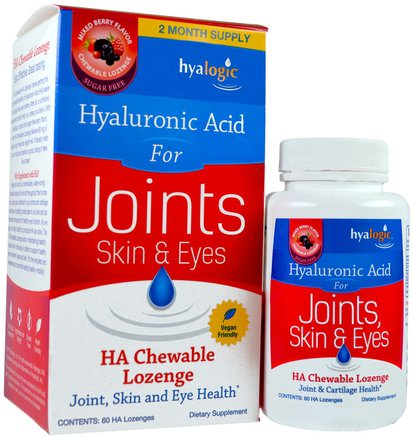 Skin & Eyes, Mixed Berry Flavor, 60 HA Chewable Lozenges by Hyalogic Hyaluronic Acid For Joints-Hälsa, Ben, Osteoporos, Anti-Åldrande, Gemensam Hälsa