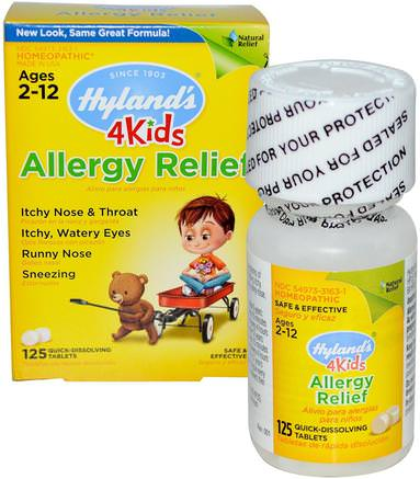 4 Kids, Allergy Relief, 125 Quick-Dissolving Tablets by Hylands-Kosttillskott, Homeopati, Allergier, Allergi