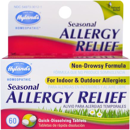 Seasonal Allergy Relief, 60 Quick-Dissolving Tablets by Hylands-Hälsa, Allergier, Allergi, Kosttillskott, Homeopatiallergier