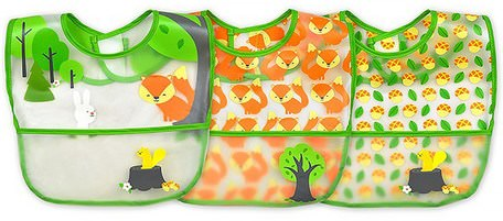 Wipe-Off Bibs, 9-18 Months, Green Fox Set, 3 Pack by iPlay Green Sprouts-Barns Hälsa, Barnmat