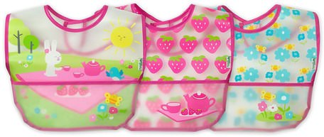 Wipe-Off Bibs, 9-18 Months, Pink Picnic Set, 3 Pack by iPlay Green Sprouts-Barns Hälsa, Barnmat