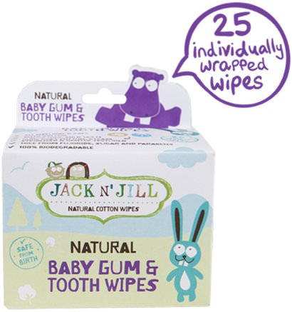 Natural Baby Gum & Tooth Wipes, 25 Individually Wrapped Wipes by Jack n Jill-Barns Hälsa, Barnomsorg