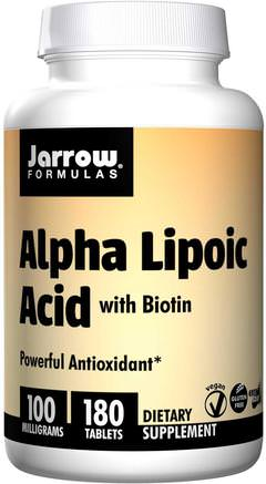 Alpha Lipoic Acid, with Biotin, 100 mg, 180 Tablets by Jarrow Formulas-Kosttillskott, Antioxidanter, Alfapoidsyra, Alfa Liposyra 100 Mg