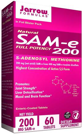Natural SAM-e (S-Adenosyl-L-Methionine) 200, 200 mg, 60 Enteric-Coated Tablets by Jarrow Formulas-Hälsa, Missbruk, Beroende, Sam-E (S-Adenosylmetionin), Sam-E 200 Mg