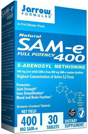 Natural SAM-e (S-Adenosyl-L-Methionine) 400, 400 mg, 30 Enteric-Coated Tablets by Jarrow Formulas-Hälsa, Missbruk, Missbruk, Sam-E (S-Adenosylmetionin), Sam-E 400 Mg