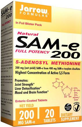 SAM-e (S-Adenosyl-L-Methionine) 200, 200 mg, 20 Enteric-Coated Tablets by Jarrow Formulas-Hälsa, Missbruk, Beroende, Sam-E (S-Adenosylmetionin), Sam-E 200 Mg