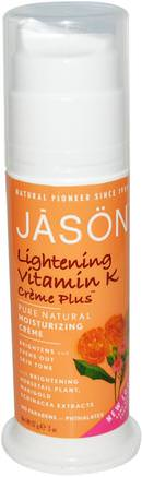 Pure Natural Moisturizing Crme, Lightening Vitamin K Crme Plus, 2 oz (57 g) by Jason Natural-Skönhet, Ansiktsvård, Krämer Lotioner, Serum, Ljusare Ansiktsvård