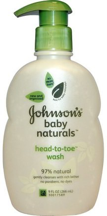 Baby Naturals, Head-to-Toe Wash, 9 fl oz (266 ml) by Johnsons Baby-Bad, Skönhet, Duschgel, Barn Kroppsvask, Barn Duschgel, Barnhälsa, Barnbad