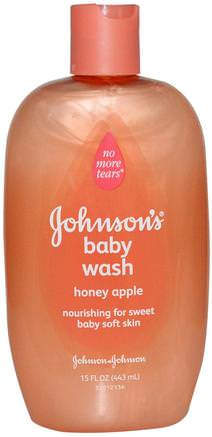 Baby Wash, Honey Apple, 15 fl oz (443 ml) by Johnsons Baby-Bad, Skönhet, Duschgel, Barn Kroppsvask, Barn Duschgel, Barnhälsa, Barnbad