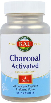 Charcoal Activated, 280 mg, 50 Capsules by KAL-Kosttillskott, Mineraler, Aktivt Kol