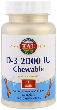 D-3 Chewable, Natural Cinnamon Flavor, 2000 IU, 100 Chewables by KAL-Vitaminer, Vitamin D3
