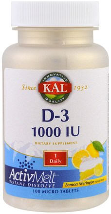 D-3, Lemon Meringue, 1000 IU, 100 Micro Tablets by KAL-Vitaminer, Vitamin D3