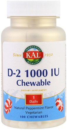 D2, Natural Peppermint Flavor, 1000 IU, 100 Chewables by KAL-Vitaminer, Vitamin D3, Vitamin D 2 (Ergocalciferol)