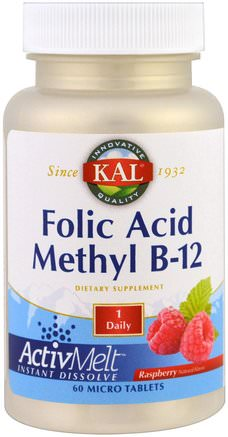 Folic Acid Methyl B-12, ActivMelt, Raspberry, 60 Micro Tablets by KAL-Vitaminer, Vitamin B-Komplex