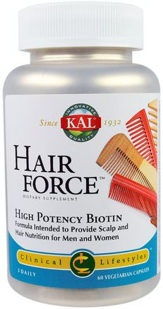 Hair Force, High Potency Biotin, 60 Veggie Caps by KAL-Vitaminer, Vitamin B