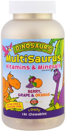 MultiSaurus, Berry, Grape & Orange, 180 Chewables by KAL-Vitaminer, Barn Multivitaminer