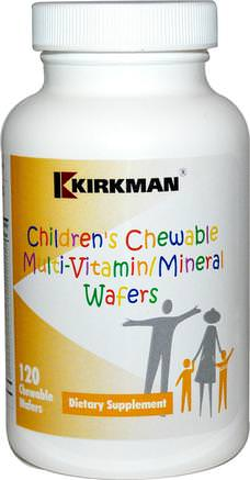 Childrens Chewable Multi-Vitamin/Mineral Wafers, 120 Chewable Wafers by Kirkman Labs-Vitaminer, Multivitaminer, Barn Multivitaminer