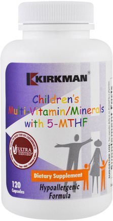 Childrens Multi Vitamin/Minerals with 5-MTHF, 120 Capsules by Kirkman Labs-Vitaminer, Barn Multivitaminer