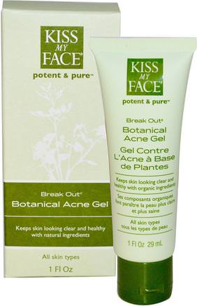 Break Out, Botanical Acne Gel, 1 fl oz (29 ml) by Kiss My Face-Skönhet, Akne Aktuella Produkter, Ansiktsvård