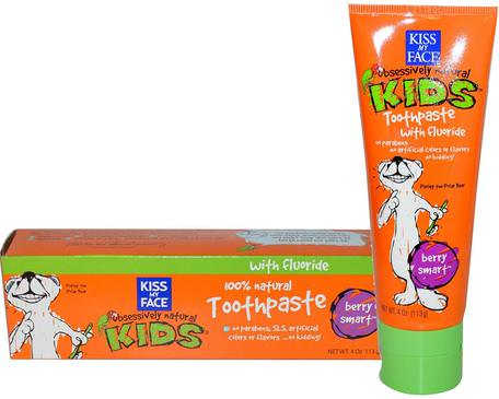 Obsessively Natural Kids, Toothpaste with Fluoride, Berry Smart, 4 oz (113 g) by Kiss My Face-Bad, Skönhet, Tandkräm, Barnomsorg