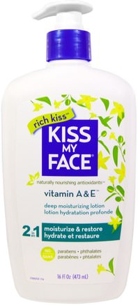 Rich Kiss, 2 In 1 Deep Moisturizing Lotion, Vitamin A & E, 16 fl oz (473 ml) by Kiss My Face-Bad, Skönhet, Body Lotion, Kroppsvård