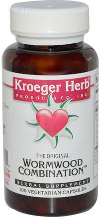 The Original Wormwood Combination, 100 Veggie Caps by Kroeger Herb Co-Örter, Artemisia Malurt