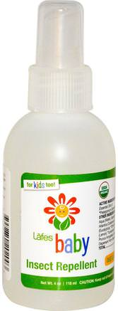 Baby, Insect Repellent, 4 oz (118 ml) by Lafes Natural Body Care-Hem, Insekter Och Insektsmedel, Barnbad