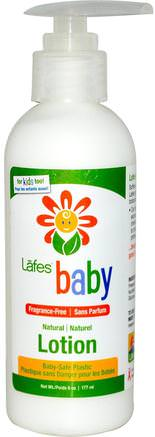 Baby, Natural Lotion, Fragrance-Free, 6 oz (177 ml) by Lafes Natural Body Care-Bad, Skönhet, Body Lotion, Barnbad