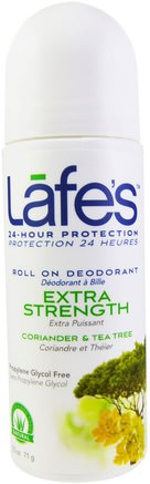 Roll On Deodorant, Extra Stength, Coriander & Tea Tree, 2.5 oz (71 g) by Lafes Natural Body Care-Bad, Skönhet, Deodorant, Roll-On Deodorant