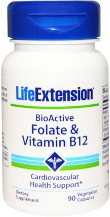BioActive, Folate & Vitamin B12, 90 Veggie Caps by Life Extension-Vitaminer, Vitamin B, Vitamin B12