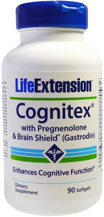 Cognitex with Pregnenolone & Brain Shield (Gastrodin), 90 Softgels by Life Extension-Kosttillskott, Pregnenolon, Alfa Gpc (Glycerofoskolin)