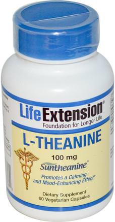 L-Theanine, 100 mg, 60 Veggie Caps by Life Extension-Kosttillskott, Aminosyror, L-Teanin
