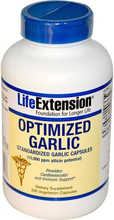 Optimized Garlic, Standardized Garlic Capsules, 200 Veggie Caps by Life Extension-Kosttillskott, Antibiotika, Vitlök, Hälsa, Blodtryck