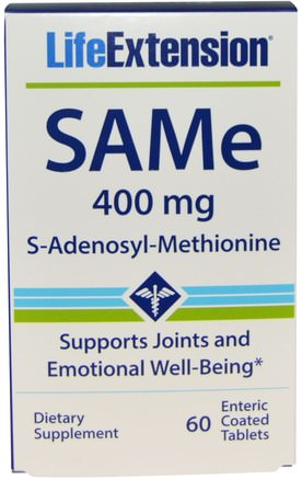 SAMe (S-Adenosyl-L-Methionine), 400 mg, 60 Enteric Coated Tablets by Life Extension-Hälsa, Missbruk, Missbruk, Sam-E (S-Adenosylmetionin), Sam-E 400 Mg, Gemensam Hälsa
