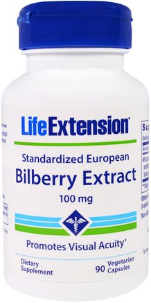 Standardized European Bilberry Extract, 100 mg, 90 Veggie Caps by Life Extension-Hälsa, Ögonvård, Synvård, Blåbär