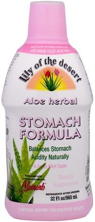 Aloe Herbal Stomach Formula, Mint, 32 fl oz (946 ml) by Lily of the Desert-Kosttillskott, Aloe Vera, Aloe Vera Flytande
