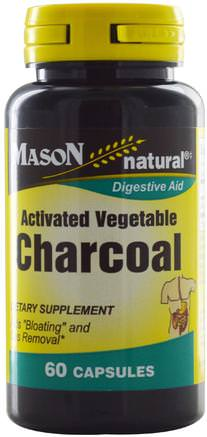 Activated Vegetable Charcoal, 60 Capsules by Mason Naturals-Kosttillskott, Mineraler, Aktivt Kol