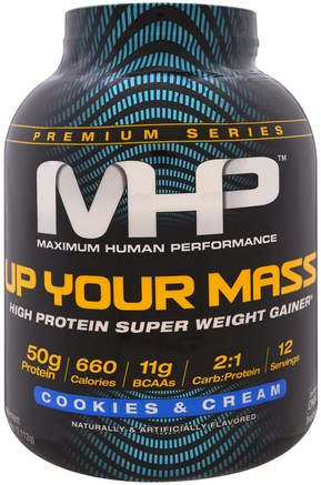 Up Your Mass, High Protein Super Weight Gainer, Cookies & Cream, 4.66 lbs (2.112 g) by Maximum Human Performance-Sport, Sport
