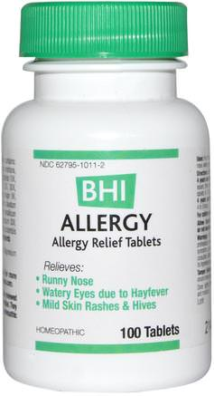 BHI, Allergy, 100 Tablets by MediNatura-Hälsa, Allergier, Allergi, Kosttillskott, Homeopatiallergier