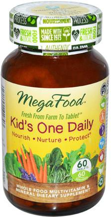 Kids One Daily, 60 Tablets by MegaFood-Vitaminer, Multivitaminer, Barn Multivitaminer