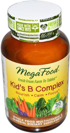 Kids B Complex, 30 Tablets by MegaFood-Vitaminer, Multivitaminer, Barn Multivitaminer