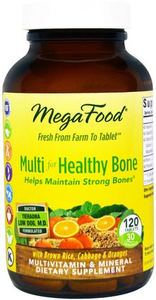Multi for Healthy Bone, 120 Tablets by MegaFood-Vitaminer, Multivitaminer, Ben, Osteoporos