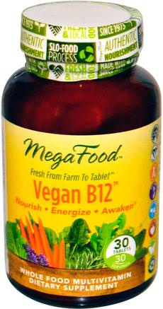 Vegan B12, 30 Tablets by MegaFood-Vitaminer, Vitamin B