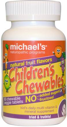 Childrens Chewables, Natural Fruit Flavors, 60 Chewable Veggie Tablets by Michaels Naturopathic-Vitaminer, Multivitaminer, Barn Multivitaminer