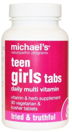 Teen Girls Tabs, Daily Multi Vitamin, 90 Veggie Tabs by Michaels Naturopathic-Vitaminer, Multivitaminer, Barn Multivitaminer