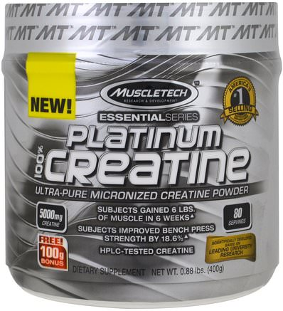 Essential Series, Platinum 100% Micronized Creatine, Unflavored, 0.88 lbs (400 g) by Muscletech-Sporter
